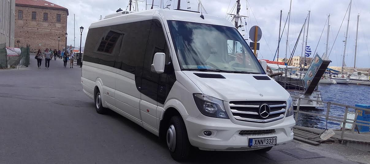 Our Sprinter Mini Van at Chania Old Port
